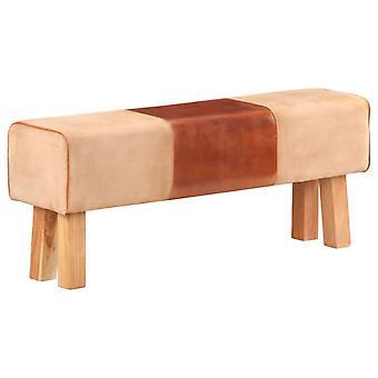 vidaXL seat turnbock design 120cm brown real leather mango solid wood