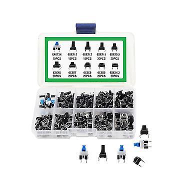 180Pcs 10 Typ 6 * 6 Licht Mikro-Touch-Schalter Set Druckknopf Schalter Kit Sortiment Set DIY Werkzeug Zubehör 6x6 Tasten Takt ein / aus
