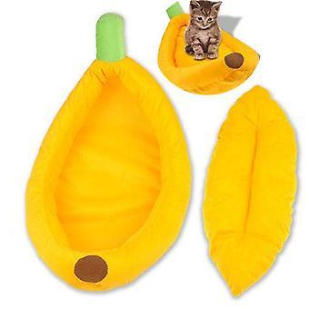 (S) Pet Dog Cat Mat Banana Shape Bed House Kennel