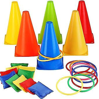 Carnival Toss Games Combo Set Outdoor Plastic Cones Bean Bag Ring Toss Games For Kids Children