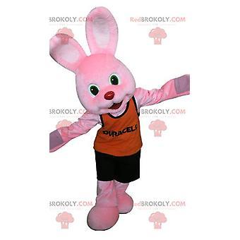 Maskottchen REDBROKOLY.COM des berühmten rosa Hasen Duracell.Rosa Hase