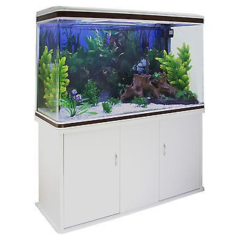 Fish Tank Aquarium Complete Set Up Tropical Marine 4ft 300 Litre White Cabinet