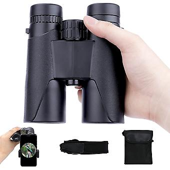 Binoculars for Adults 12x42 with Phone Adapter Compact Binoculars Bird Watching Travel Sightseeing Hunting Wildlife Outdoor Sports Games and Concerts,(black)