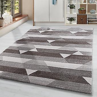 Pila corta Sala de estar Alfombra Diseño Alfombra Motivo Vigas triangulares Crema Marrón Beige