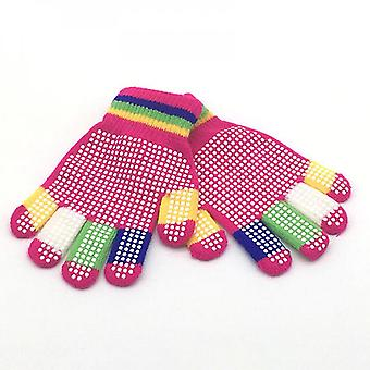 Children's Knitted Warm Gloves For Outdoor Sports Skiing Non-slip Polka Dot Particle Offset Printing Gloves