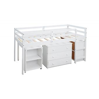 Multiple Functions Children Bed With Three Drawers Desk Storage Shelves In White
