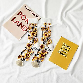 Womens novelty harajuku crystal silk tide socks for summer with patterns(White)