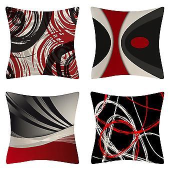 Pakkaus 4 tyynynpäälliset 18x18 Moderni Abstrakti Punainen Raidat Kuvio Puuvilla Pellavanheitto Tyynynpäälliset Tyynyliinat