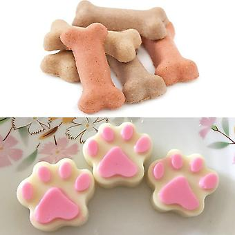 3 piezas moldes de silicona Puppy Dog Paw And Bone Shaped, reusable Ice Candy