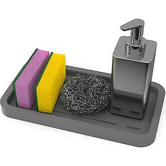 Porte-éponges en silicone - Plateau organisateur d'évier de cuisine pour éponge, savon