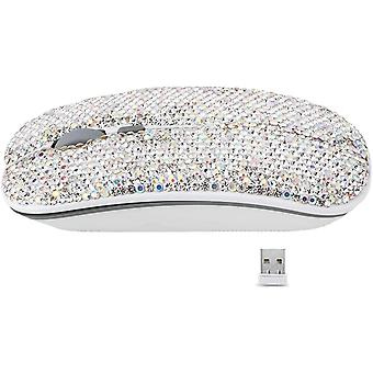 2.4ghz Wireless Mouse Covered With Rhinestone Crystal, Slim Mouse With Usb Receiver, Compatible With Notebook, Pc, Laptop, Computer, (white Diamond)
