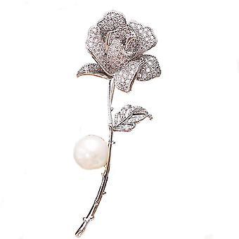 Rose Flower Pearl Broche Pins Koper ingelegd zirkon pak accessoires