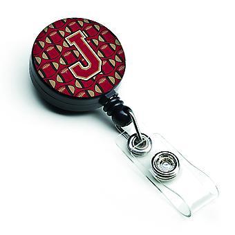 Letter J Football Garnet and Gold Retractable Badge Reel