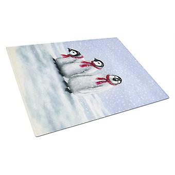 Penguins by Daphne Baxter Glass Cutting Board Large