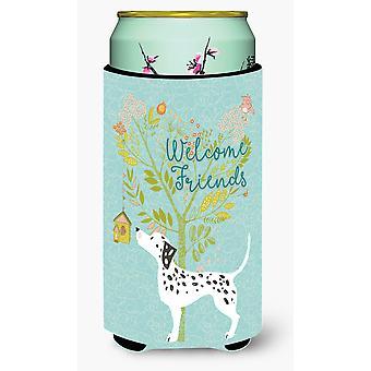 Welcome Friends Dalmatian Tall Boy Beverage Insulator Hugger