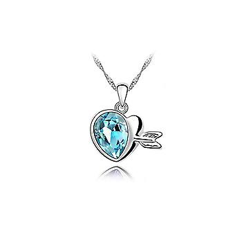 Blue Womens Gemstone Heart Necklace Pendant