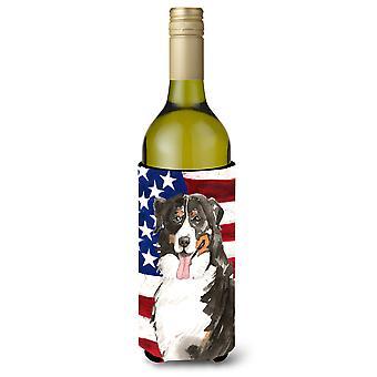Patriotic USA Bernese Mountain Dog Wine Bottle Beverge Insulator Hugger