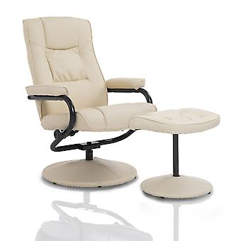 HOMCOM Executive Recliner Chair High Back Swivel Armchair Lounge Seat w/ Footrest Stool (Cream)