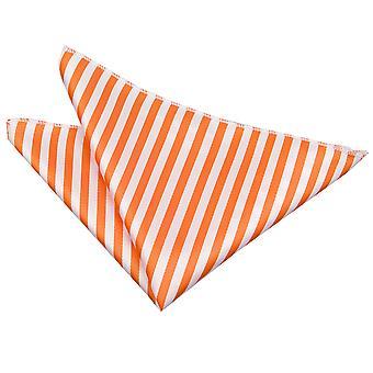 White & Orange Thin Stripe Pocket Square
