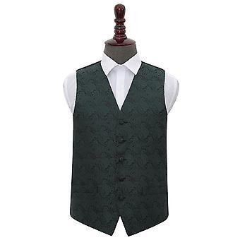 Smaragd gröna Paisley bröllop väst