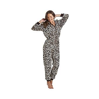 Camille Womens Ladies Luxury All In One Snow Leopard Print Hooded Fleece Onesie Pyjama Sizes 10-40