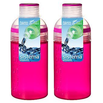 Sistema Trio Drink Bottle 480ml, Pink Set of 2