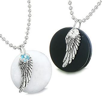 Amuletit Angel Wings rakkaus pari tai parhaat kaverit asettaa Jade Onyx Swarovski Elements sydämet kaulakorut