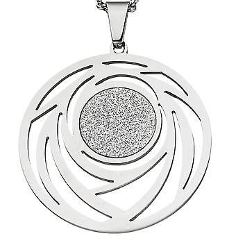 Necklace chain with pendant round stainless steel with glitter effect 80 cm verkürzbar