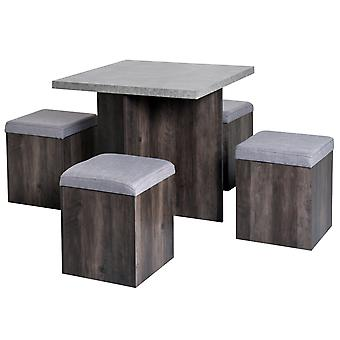 HOMCOM 5PC Dining Set Indoor Garden Patio Wooden Set 4 Storage Stools Footrest Ottoman with Cushions + 1 Table Space Saving Design