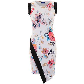 Ladies ermeløse asymmetrisk Floral Print panelet teksturert Wrap Bodycon kjole