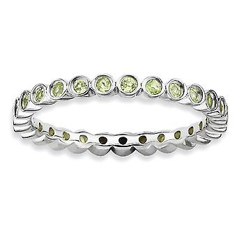 925 Sterling Silver Bezel Polished Patterned Rhodium plated Stackable Expressions Peridot Ring Jewelry Gifts for Women -