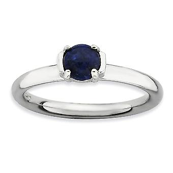 2.5mm 925 Sterling Silver Prong set Rhodium-plated Stackable Expressions Polished Blue Lapis Ring - Ring Size: 5 to 10