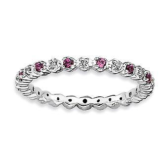 925 Sterling Sølv polert Prong sett Rhodium belagt stables uttrykk Rhod. Granat og diamant ring smykker gaver