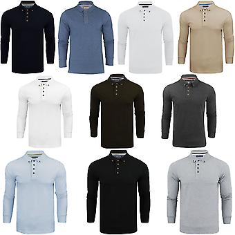Brave Soul Mens Lincoln Long Sleeve Polo Shirt Plain Collar Top