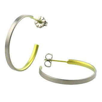 Ti2 Titanium Medium Hoop Earrings - Lemon Yellow