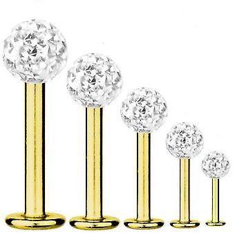 Labret Bar Tragus Piercing Gold plattiert Titan 1,6 mm, Multi Crystal Ball weiß | 5-16 mm