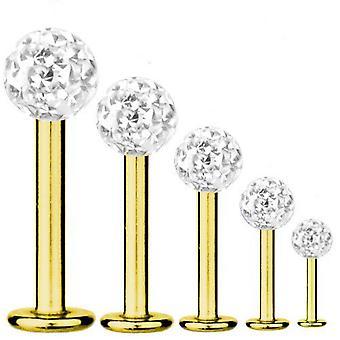 Labret Bar Tragus Piercing guld pläterad Titanium 1,6 mm, Multi Crystal Ball vit | 5-16 mm