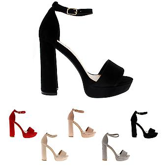 Womens Block Heel Fashion Open Toe Barely There Ankle Strap High Heels UK 3-10