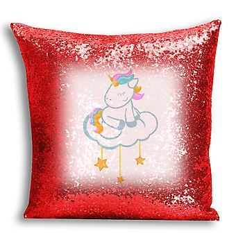 i-Tronixs - Unicorn Printed Design Red Sequin Cushion / Pillow Cover for Home Decor - 1