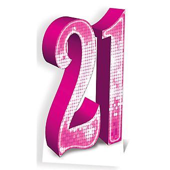 Nummer 21 roze Lifesize karton gestanst / Standee