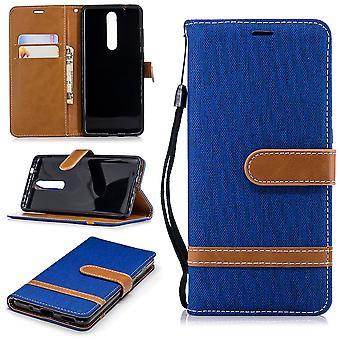 Funda para Nokia 5.1 jeans caso de protección de la célula azul