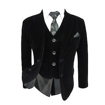 Boys Slim Fit Black Velvet Suit