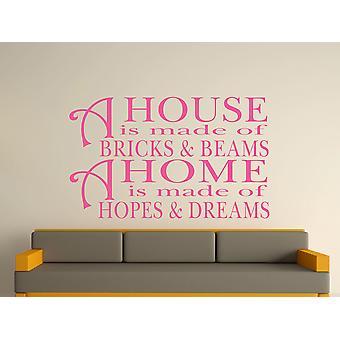 Una casa está hecha de ladrillos y vigas v2 arte etiqueta de la pared - Pink