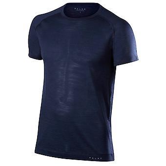 Falke-Seide-Wolle-Kurzarm-Shirt - Space Blau