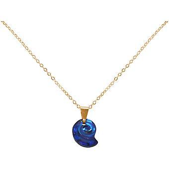 Maritim Nautics ketting nautilus blauwe shell 925 zilver, verguld, Rose