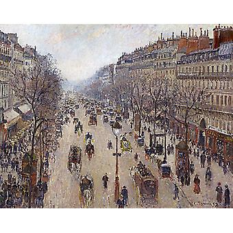 Boulevard Montmartre,morning cloudy,Camille Pissarro,50x40cm