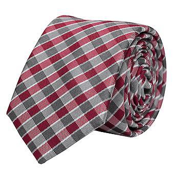 Tie stropdas stropdas tie 6cm wit rood grijs geruit Fabio Farini