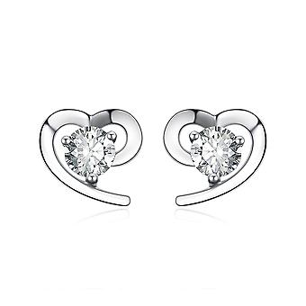 925 Sterling Silver Simple Heart With Stone Stud Earrings