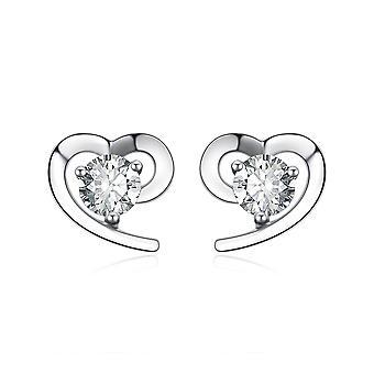 925 Sterling sølv simpelt hjerte med sten Stud Øreringe