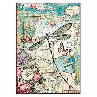 Feuille de papier de riz de Stamperia A4-Wonderland Dragonfly